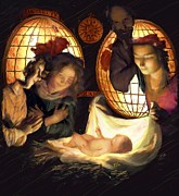 Manger Posters - Light of The World Oil Painting Poster by Earl Jackson