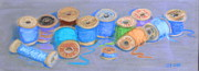 Quilt Drawings Posters - Light Pastel Spools Poster by Joseph Hawkins