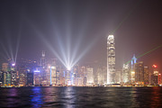 Ifc Prints - Light show in Hong Kong Print by Matteo Colombo