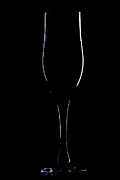 Glass Table Reflection Posters - Light Silhouette Of Wineglass Poster by Roman Popov
