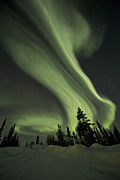 Northern Lights Framed Prints - Light Swirls Over The Midnight Dome Framed Print by Priska Wettstein