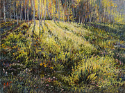 Aspen Western Paintings - Light through the Aspens by Steve Spencer