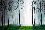 Tranquil Drawings Prints - Light through the forest Print by Nirdesha Munasinghe