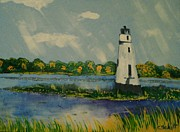 Lighthouse Paintings - Light Tower by Christina Schott