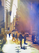 Times Square Painting Prints - Light Traffic Print by Kris Parins
