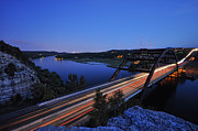 Pennybacker Bridge Photos - Light Trails at Pennybacker Bridge by Kevin Pate