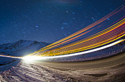 Loveland Acrylic Prints - Light Trails On Loveland Pass Acrylic Print by Mike Berenson