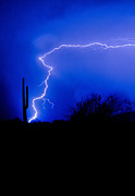 Arizona Lightning Prints - Light up the Desert  Print by Saija  Lehtonen
