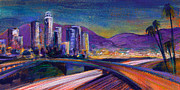 Downtown Painting Metal Prints - Light Up The Night Metal Print by Athena Mantle