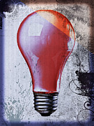 Grunge Posters - Lightbulb Poster by Bob Orsillo