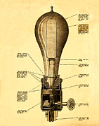 Edison Digital Art Posters - Lightbulb Patent Poster by Digital Reproductions