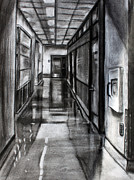 Tiles Drawings - Lighted Hallway by Billy Granneman