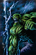 Incredible Hulk Posters - Lightening Hulk Poster by David Bollt