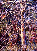 Original Oil Pastels - Lightening Struck Tree by Kendall Kessler
