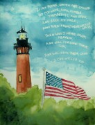 Fourth Of July Painting Originals - Lighthouse Americana with Scripture by Melanie Palmer