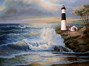 Lighthouse At Sunrise Posters - Lighthouse and crushing waves painting Poster by Gina Femrite