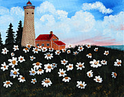 Staircase Painting Originals - Lighthouse and Daisies by Barbara Griffin