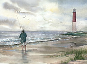 Lighthouse And Fisherman Print by Beth Kantor