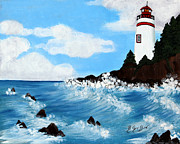 Staircase Painting Originals - Lighthouse and Sunkers by Barbara Griffin