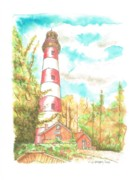 Watercolor Landscapes Posters - Lighthouse Assateague Chincoteague - Virginia Poster by Carlos G Groppa