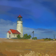Blanco Framed Prints - Lighthouse at Cape Blanco Framed Print by Dale Stillman