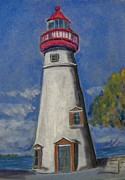 Ohio Pastels Prints - Lighthouse at Marblehead Print by Richard Goohs