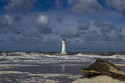 River Dee Framed Prints - lighthouse at New Brighton Framed Print by Karen Lawrence