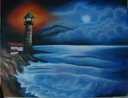 Sea Moon Full Moon Painting Originals - LightHouse at night by Dhara Khatri