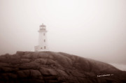 Famous Lighthouses Posters - Lighthouse at Peggys Cove Poster by Jim  Calarese
