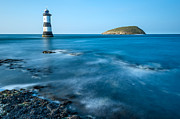 Seascape Digital Art Framed Prints - Lighthouse at Penmon Point Framed Print by Adrian Evans
