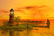 Lighthouse At Sunset Posters - Lighthouse at Sunset Poster by John Junek