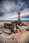Rocks Digital Art Framed Prints - Lighthouse at Talacre  Framed Print by Adrian Evans
