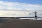 Talacre Digital Art Acrylic Prints - Lighthouse at Talacre Acrylic Print by Karen Lawrence