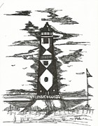 New Jersey Drawings Originals - Lighthouse at the Beach by Philip Blanche