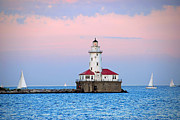 Lighthouse At The Navy Pier Print by Lynn Bauer