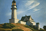 Hillside Framed Prints - Lighthouse at Two Lights Framed Print by Edward Hopper