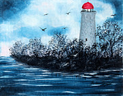Staircase Painting Originals - Lighthouse Blues by Barbara Griffin