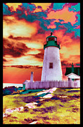 Pemaquid Lighthouse Digital Art Framed Prints - Lighthouse Framed Print by Brenda Hackett