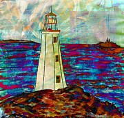 Ocean Images Drawings Posters - Lighthouse Digital Color 2 Poster by Barbara Griffin