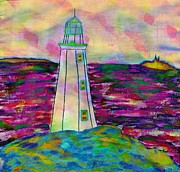 Ocean Images Drawings Posters - Lighthouse Digital Color Poster by Barbara Griffin