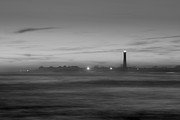 Jerseyshore Photo Originals - Lighthouse from a distance BW by Michael Ver Sprill