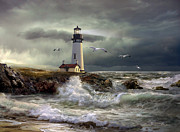 Sea With Waves Framed Prints - Lighthouse guiding light Framed Print by Gina Femrite