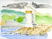 Lighthouse Drawings Framed Prints - Lighthouse II Framed Print by Eva Ason