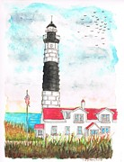 Red Point Paintings - Lighthouse in Big Sable Point - Lundington - Michigan by Carlos G Groppa