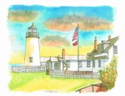 Watercolors Painting Originals - Lighthouse in Bristol - Maine by Carlos G Groppa