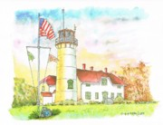 Chatham Painting Prints - Lighthouse in Cape Code - Massachussetts Print by Carlos G Groppa
