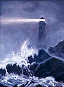 Ship In Danger Posters - Lighthouse in Dark Poster by Nancy Rucker