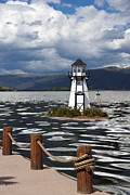 Painted Wood Prints - Lighthouse in Lake Dillon Print by Juli Scalzi