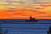 Layered Prints - Lighthouse in Silhouette Print by Robert Harmon
