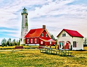 Navigate Framed Prints - Lighthouse in Tawas Point Park Framed Print by Nick Zelinsky